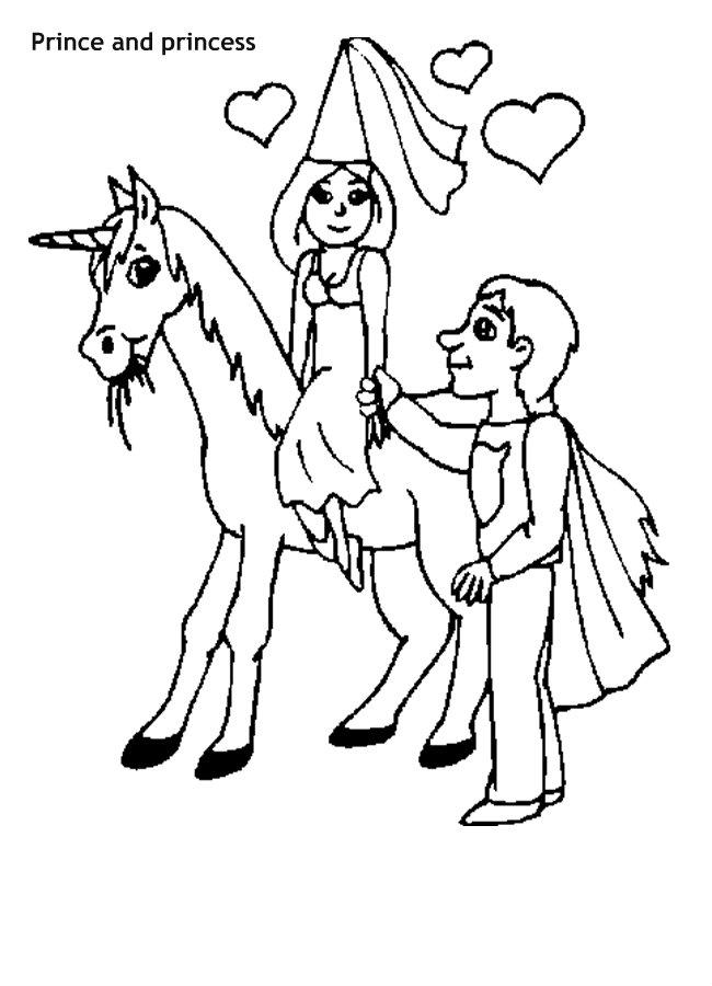 דף צביעה נסיך ונסיכה