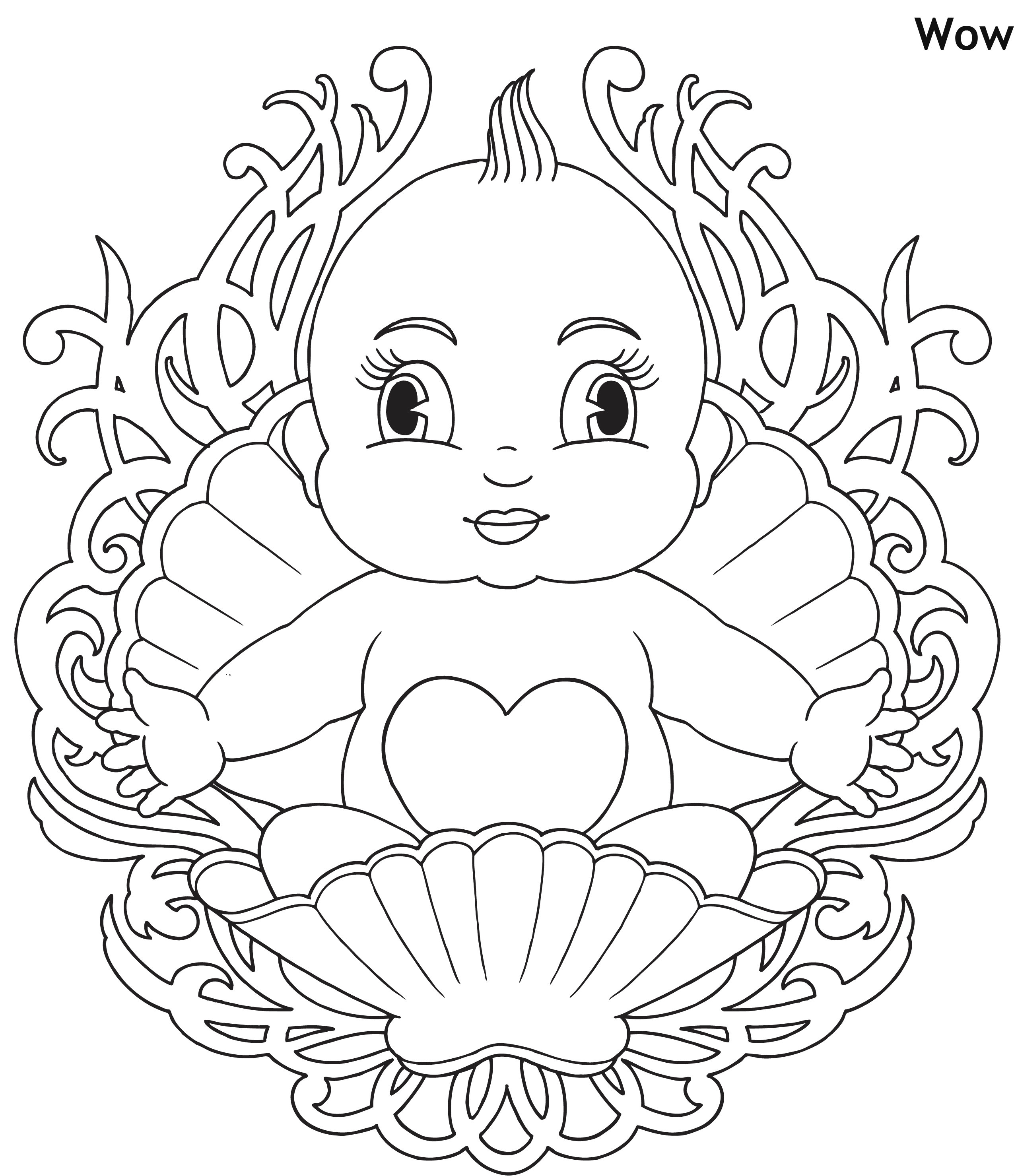 תינוקת בצדפה דף צביעה