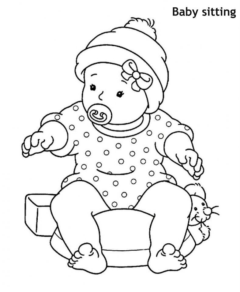 תינוקת יושבת דף צביעה