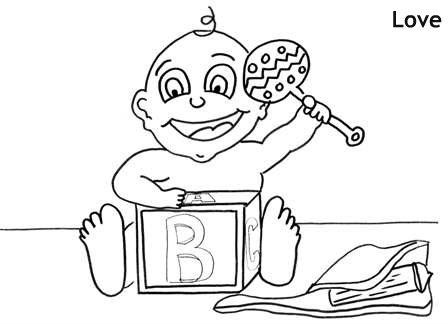 תינוק וצעצועים דף צביעה